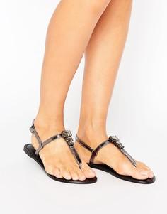 Кожаные сандалии с отделкой ASOS FELENA - Черный