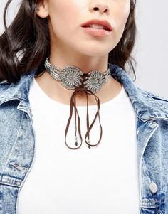 Ожерелье-чокер со шнуровкой ASOS - Серебряный