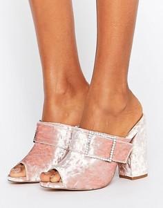 Сабо на каблуке с камнями на пряжках ASOS HARLEQUIN - Розовый