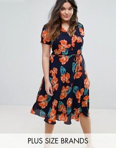 Чайное платье с цветочным принтом Alice & You - Черный