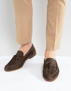 Коричневые кожаные лоферы с плетеной отделкой ASOS - Коричневый
