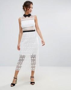 Кружевное платье макси с контрастным воротником Amy Lynn - Белый