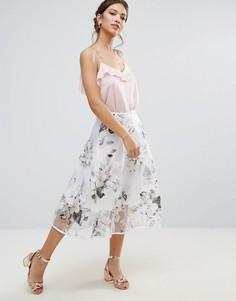 Юбка для выпускного с цветочным принтом Amy Lynn - Белый
