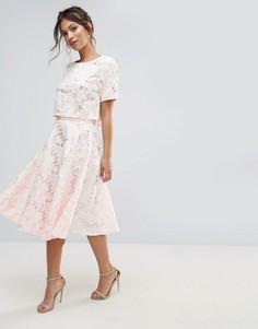 Кружевная юбка-трапеция миди с цветочным принтом Amy Lynn - Кремовый