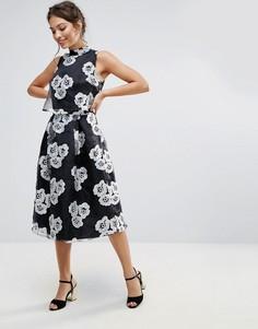 Короткое приталенное платье с цветочным принтом Amy Lynn - Черный