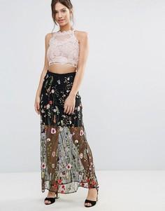 Юбка с цветочной вышивкой Amy Lynn - Черный