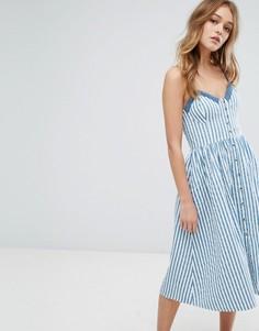 Платье в полоску на пуговицах Rollas - Синий Rollas