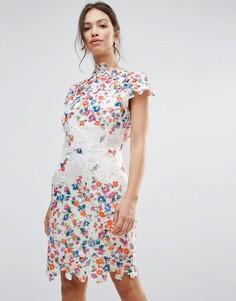 Кружевное платье-футляр с открытой спиной и цветочной аппликацией в стиле 3D Amy Lynn - Белый
