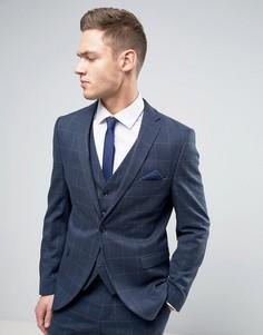 Узкий пиджак в тонкую клетку Selected Homme - Темно-синий