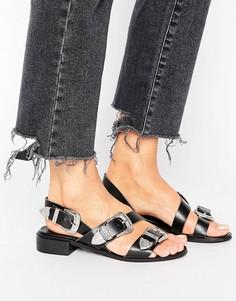 Кожаные сандалии с пряжками в стиле вестерн Park Lane - Черный