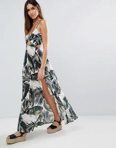 Монохромное пляжное платье макси на бретельках с пальмовым принтом ASOS - Мульти