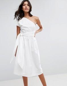 Хлопковое платье миди на одно плечо ASOS - Белый