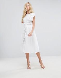 Платье миди с кружевной вставкой и помпонами ASOS - Белый