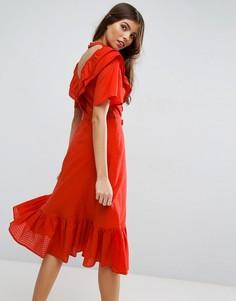Платье миди с открытой спиной ASOS Prairie - Красный
