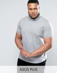 Серая меланжевая футболка-поло ASOS PLUS - Серый