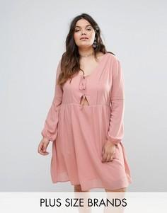 Короткое приталенное платье с вырезами Alice & You - Розовый