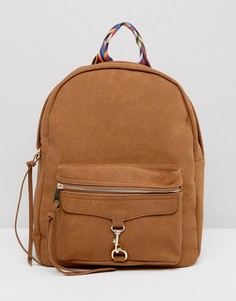 Рюкзак с эффектом замши и ремешком с шеометрическим узором Yoki Fashion - Рыжий