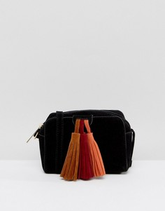 Сумка через плечо с крупными контрастными кисточками Yoki Fashion - Черный