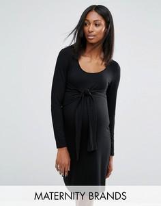 Трикотажное платье с узлом спереди для беременных Noppies Maternity - Черный