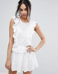Кружевное платье мини с оборками Missguided - Кремовый