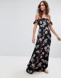 Платье макси с принтом и открытыми плечами Flynn Skye - Мульти