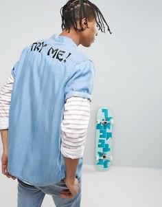 Джинсовая рубашка стандартного кроя с вышивкой ASOS X LOT STOCK & BARREL - Синий