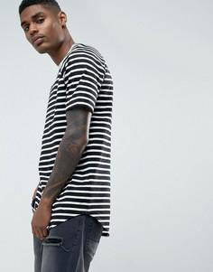 Длинная футболка в полоску с закругленным низом ASOS - Черный