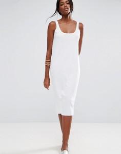 Платье-майка миди в рубчик с необработанными краями ASOS - Белый