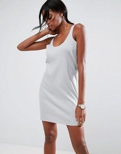 Платье-майка мини в рубчик с необработанными краями ASOS Ultimate - Серый