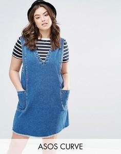 Джинсовое платье мини винтажного синего цвета ASOS CURVE - Синий