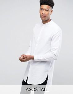 Белая супердлинная рубашка классического кроя с воротником на пуговице ASOS TALL - Белый