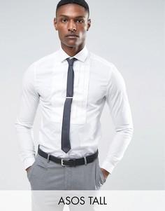 Узкая рубашка с плиссированной вставкой на груди ASOS TALL WEDDING - Белый