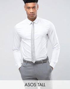 Узкая атласная рубашка с двойными манжетами ASOS TALL WEDDING - Белый