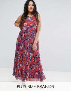 Платье макси с цветочным принтом и складками Lovedrobe Plus - Красный