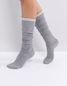 Носки в рубчик с 2 полосками ASOS - Серый