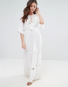 Платье макси с кружевной вставкой Boohoo - Белый