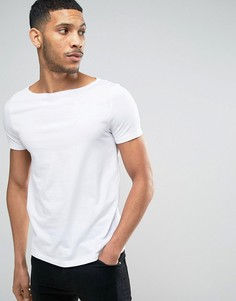 Белая футболка с вырезом лодочкой ASOS - Белый