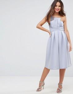 Кружевное платье миди на одно плечо для выпускного ASOS PREMIUM - Синий