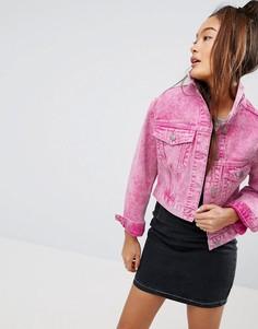 Выбеленная розовая джинсовая куртка ASOS - Розовый