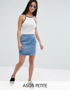 Выбеленная синяя джинсовая мини-юбка ASOS PETITE - Синий