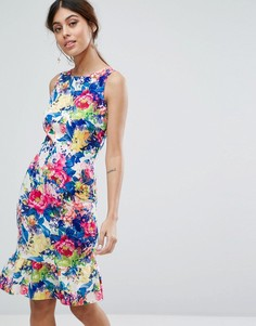 Платье миди с цветочным принтом и оборкой по нижнему краю Paper Dolls - Мульти