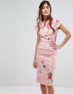 Кружевное платье-футляр с цветочным принтом Little Mistress - Мульти
