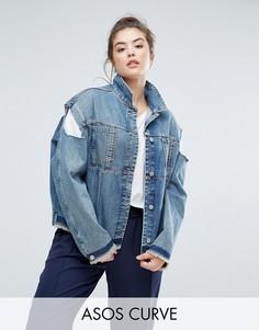 Джинсовая куртка с открытыми плечами ASOS CURVE - Синий