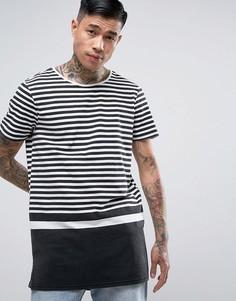 Черная удлиненная футболка с широкими полосками New Look - Черный
