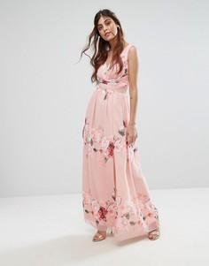 Шифоновое платье макси с глубоким декольте и цветочным принтом Little Mistress - Мульти