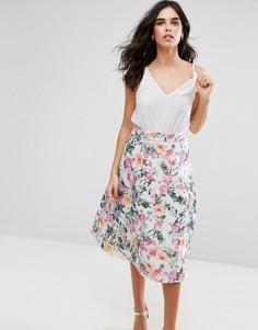 Приталенное платье миди 2 в 1 с цветочным принтом на юбке Ax Paris - Кремовый