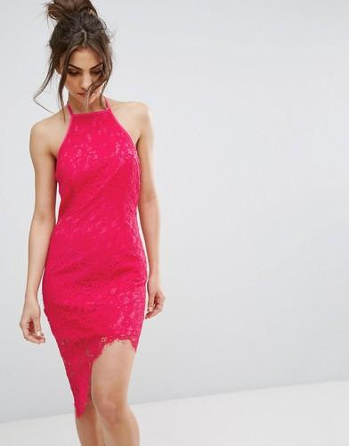 Платье миди с халтером и кружевной отделкой PrettyLittleThing - Розовый