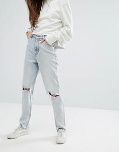 Прямые джинсы с завышенной талией и рваной отделкой Cheap Monday - Синий