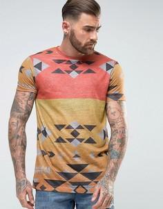 Удлиненная футболка в льняном стиле с ацтекским принтом ASOS - Оранжевый