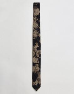 Узкий галстук с цветочным узором ASOS - Серый